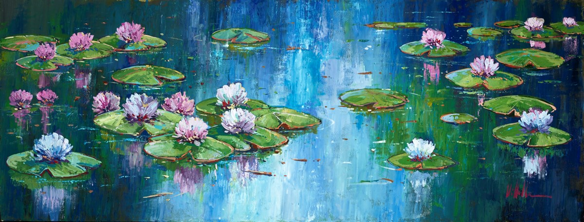 Floating Flowers I by villalba -  sized 51x20 inches. Available from Whitewall Galleries